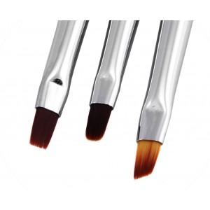 Набор кисточек для геля 3 в 1 AISULU Nail Brush №2 с прозр. ручкой