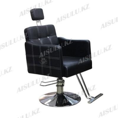 B-1065 Кресло парикмахерское с откидной спинкой (черное, гладкое)