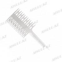 Расческа для мелирования №7005 с крючками, 2-сторон., белая AISULU