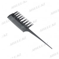 Расческа для мелирования #1177, с крючками, со съемн. зубцами, серая AISULU