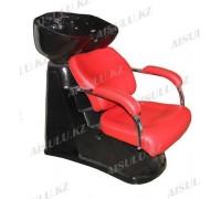 S-6021 Мойка парикмахерская с креслом (красный, гладкий)