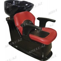 S-6048 B Мойка парикмахерская с креслом (красно-черная,