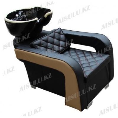 AS-6011 Мойка парикмахерская с креслом (черно-бежевая,