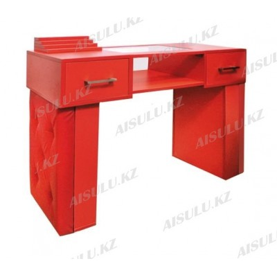 AS-11 Стол маникюрный с двумя задвижками/двухъярусный (красный)