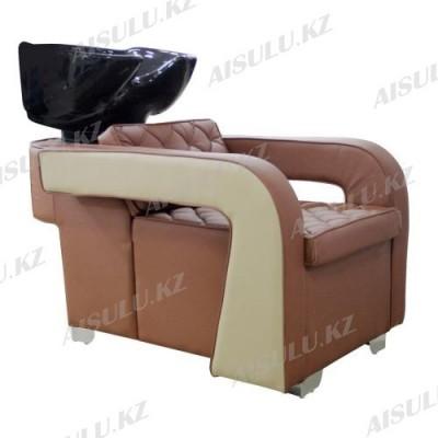 AS-6011 Мойка парикмахерская с креслом (коричнево-бежевая,