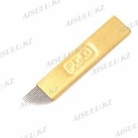 Иглы (перья) для ручного татуажа P.C.D. Р12 золотые (10 шт.)
