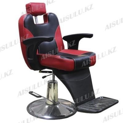 B-1088 Кресло парикмахерское (красно-черное, гладкое)