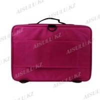 Сумка-чемодан для визажиста XZ-08 с делениями/матерчатый 40х28см (розовый)