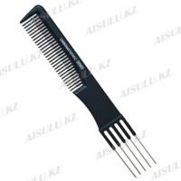 Расческа для начеса №06969 Carbon Antistatic черная, с металл. вилкой AISULU