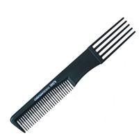 Расческа для начеса №06979 Carbon Antistatic черная, с пластик. вилкой AISULU