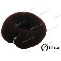 Валик для объема волос Q-66 темно-коричневый Ø 14 см на кнопке AISULU (м)