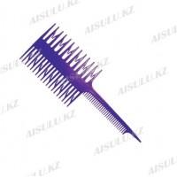Расческа для мелирования №7005 с крючками, 2-сторон., фиолетовая AISULU