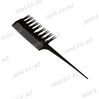 Расческа для мелирования #1177, с крючками, со съемн. зубцами, черная AISULU