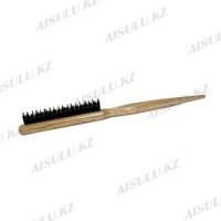 Щетка для начеса №6047 деревян., светло-корич., пластик. зубцы + щетина AISULU