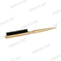 Щетка для начеса №6046 деревян., светло-корич., зубцы + щетина AISULU
