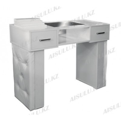 AS-11 Стол маникюрный с двумя задвижками/двухъярусный (белый, глянец)