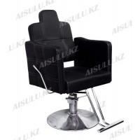 AS-1077 Кресло парикмахерское с откидной спинкой (черное, гладкое)