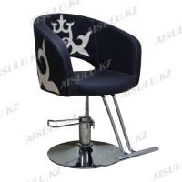 AS-7182 Кресло для парикмахера с орнаментом (черно-золотистое, гладкое)