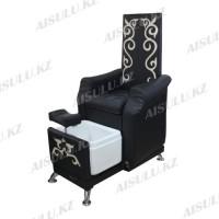 AS-9788 Кресло педикюрное c ванночкой с орнаментом (черно-золотистое, гладкое)