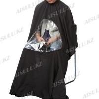 Пеньюар для покраски AS-5566 черный, прозрач. вставка для тел 145 х 160 см