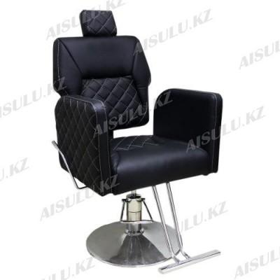 AS-6677 Кресло парикмахерское с откидной спинкой (черное, гладкое)