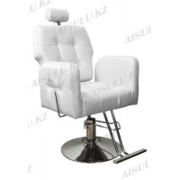 AS-8682 Кресло парикмахерское с откидной спинкой (белое, гладкое)