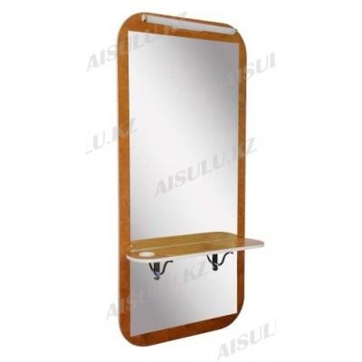 AS-5150 Зеркало навесное с подсветкой с подставкой для ног (коричн)