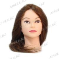 Болванка учебная для парикмахера ТМ-004 100% натур. волосы 60 см (темно-русый)