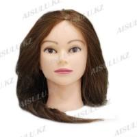 Болванка учебная для парикмахера ТМ-009 70% натур. волосы 70 см (темно-русый)