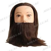 Болванка учебная мужская с бородой ТМ-018 100% натур. волосы 25 см (темно-коричневый)