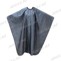 Пеньюар для парикмахера AISULU WB-26 (двусторон., 3D материал в полоску) серый