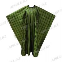 Пеньюар для парикмахера AISULU WB-26 (двусторон., 3D материал в полоску) зеленый
