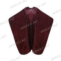 Пеньюар для парикмахера AISULU WB-27 (двусторон., 3D материал в клетку) бордовый