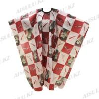 Пеньюар для барбера AISULU WB-10 (рис. инструменты, мужчины) красный