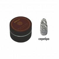 Гель-краска для ногтей AISULU 18 мл (серебристый с блестками)