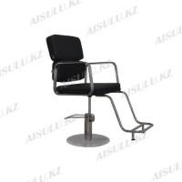 AS-6668 Кресло парикмахерское с двойной спинкой (черное, гладкое)