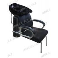 AS-6872 Мойка парикмахерская с креслом (черная, крокодил)