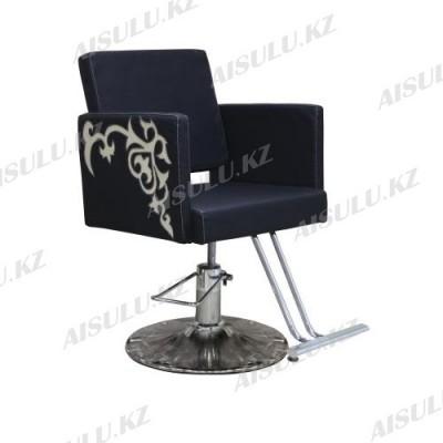 AS-8856 Кресло парикмахерское с орнаментом (черно-золотистое, гладкое)