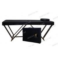 AS-388 Кушетка массажная/чемодан (черная, гладкая)