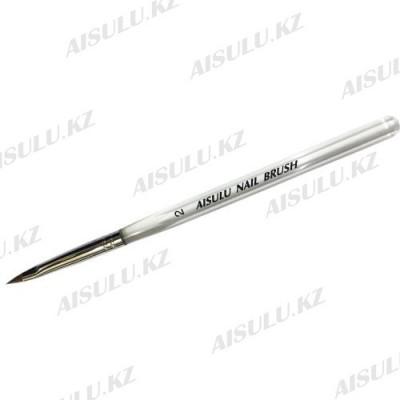 Кисточка для акрила AISULU Nail Brush №2 с прозр. ручкой