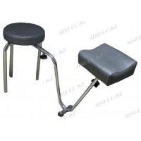 """B-34 Подставка педикюрная с креслом для мастера без спинки (серая, """"крокодил"""")"""