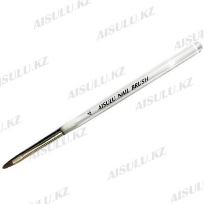 Кисточка для акрила AISULU Nail Brush №4 с прозр. ручкой