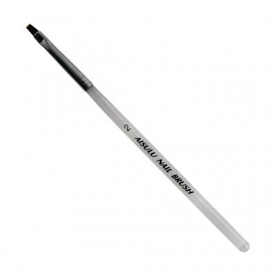 Кисточка для геля AISULU Nail Brush №2 прозр. ручкой, квадратная