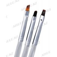 Набор кисточек для геля 3 в 1 AISULU Nail Brush №4 с прозр. ручкой