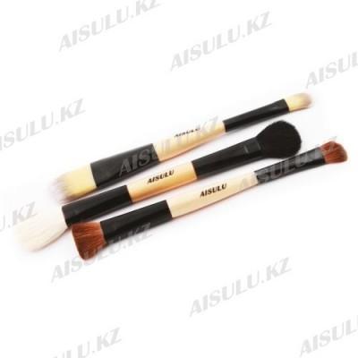 Набор кистей для макияжа AISULU-815 - 3 шт. (натуральн. щетина) двухсторонние