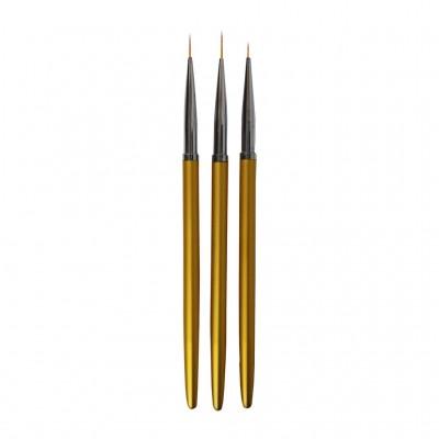 Набор кистей для рисования на ногти AISULUt 3в1 (ручка золотистая)