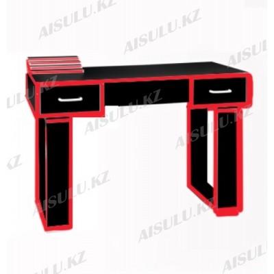 NE-22 Стол маникюрный с двумя задвижками (черно-красный глянец)