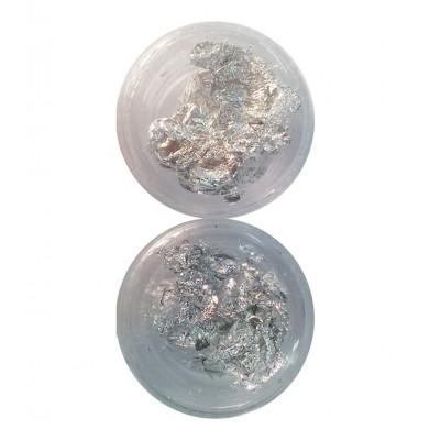 Фольга для нейл-дизайна (серебро) в банке 12в1