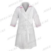 Халат для косметолога F-4003 длинный, белый с розовым воротником
