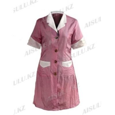 Халат для косметолога длинный, розовый с белым воротником F-4003